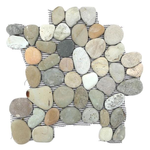 River Rock Pebble Stone Mosaic - Natural Olive Interlocking Pebble Mosaic