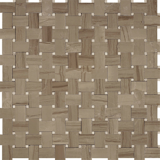 Type: Stone Mosaic, Series: Polished Basketweave Marble Mosaic, Color: Athens Gray Wooden Beige White Oak, Size: Basket Weave
