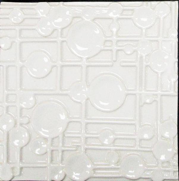 Bristol Studios - Nouveau - G2454 Paris Blanc White Relief Deco - 8X8 Hand Crafted Decorative Tile - $6.95