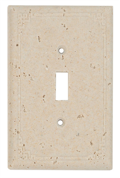 Resin Travertine Faux Stone Wall Switch Plate Outlet Cover - Single Toggle Switch - Geometric - Light Travertine Color - $4.99