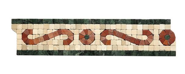 Shaw Floors - CS62A Scroll Tumbled Marble Mosaic Listello - Crema Marfil, Rojo, & Verde Marble Border Liner Strip - $5.99