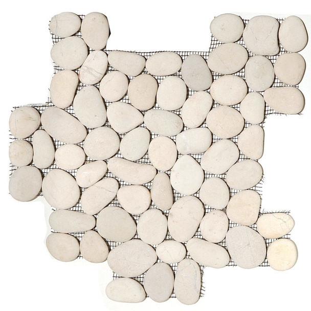 River Rock Pebble Stone Mosaic - Timor White Interlocking Pebble Mosaic