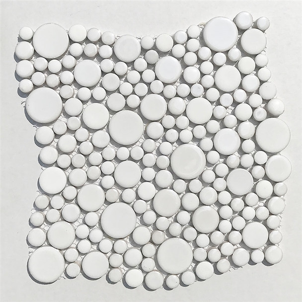 White Mixed Bubble Circle Round Glazed Porcelain Mosaic Tile - Gloss & Matte Blend Finish