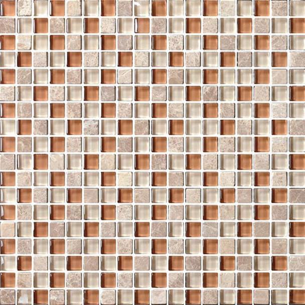 Bristol Studios - Crystal Stone - G2287 Roman Squares - 5/8 X 5/8 Square Glass & Stone Tile Mosaic - $7.99
