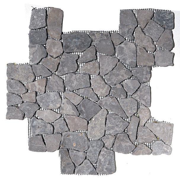 Flat Stone Mosaic - Aberdeen Gray Interlocking Stone Mosaic - Tumbled * SAMPLE *