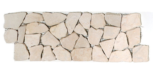 Supplier: Tile Store Online, Type: Flat Stone Liner Border, Series: Interlocking Stone Mosaic Border Liner, Name: Island Rock Collection, Color: Kuta White, Category: Natural Stone, Size: 1 - 2