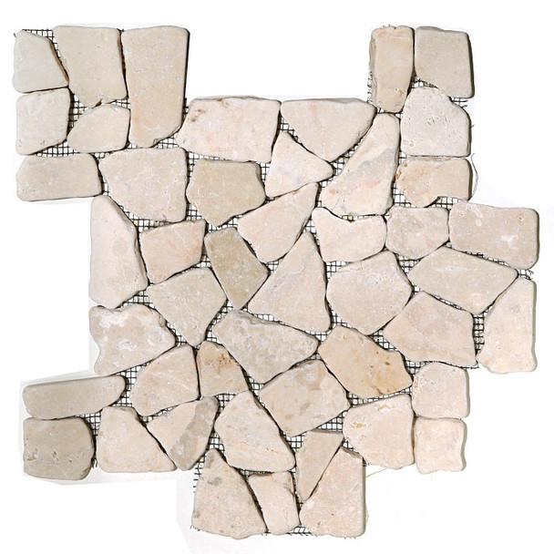 Flat Pebble Stone Mosaic - Kuta White Interlocking Flat Cut Stone Mosaic - Tumbled