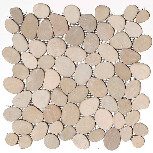 Sliced Flat Cut Pebble Stone Mosaic - Maluku Tan Interlocking Cut Stone Pebble Mosaic * SAMPLE *