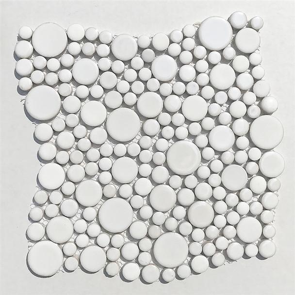 White Mixed Bubble Circle Round Glazed Porcelain Mosaic Tile - Gloss & Matte Blend Finish - Sample