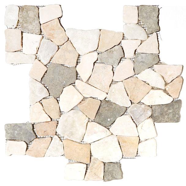 Flat Pebble Stone Mosaic - Merak Interlocking Flat Cut Stone Mosaic - Tumbled
