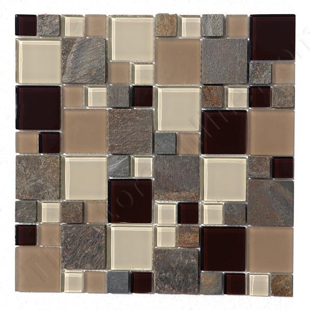 Square Pattern Glass and Slate Quartz Mosaic Tile - Regions Alpine  - Gloss Glass and Slate Quartz Stone * SAMPLE *