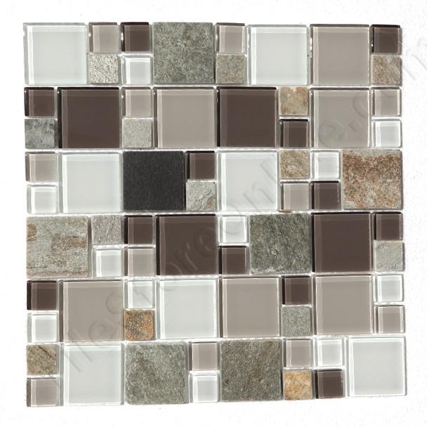Square Pattern Glass and Slate Quartz Mosaic Tile - Regions Glacier  - Gloss Glass and Slate Quartz Stone * SAMPLE *