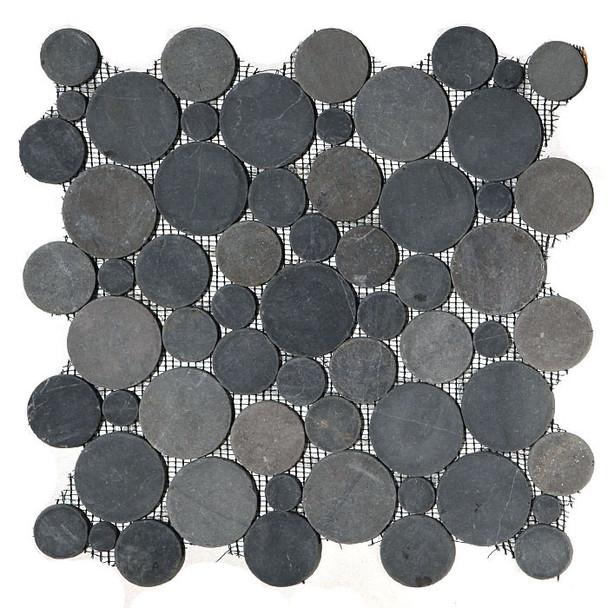 Circle Round Cut Pebble Stone - Bubble Gray Black Interlocking - Sliced Flat Round Cut Stone Mosaic