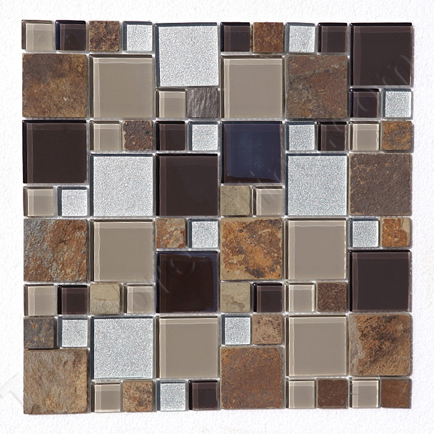 Square Pattern Glass and Slate Quartz Mosaic Tile - Regions Tundra  - Gloss Glass and Slate Quartz Stone * SAMPLE *