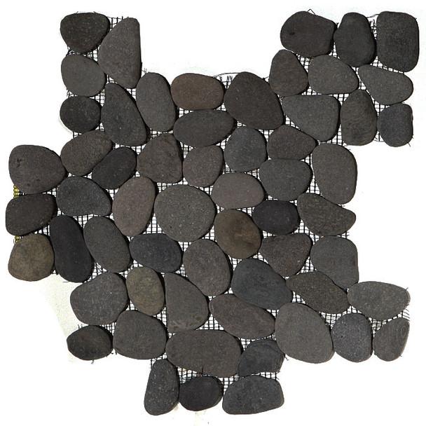 River Rock Pebble Stone Mosaic - Bali Black Interlocking Pebble Mosaic