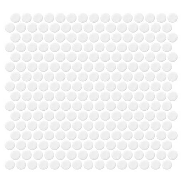 """Supplier: Daltile, Series: Fanfare - Retro Rounds, Name: RR01 Bold White Penny Round - Gloss, Size: 1"""""""