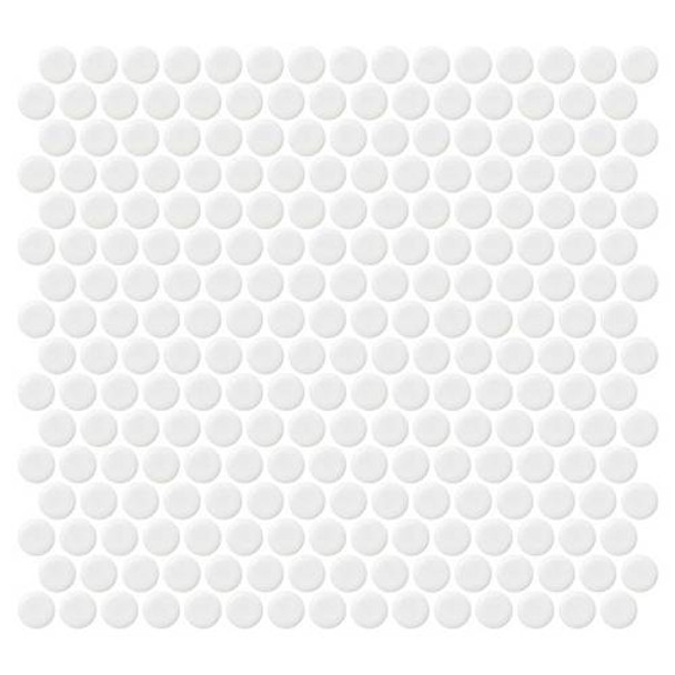 "Supplier: Daltile, Series: Fanfare - Retro Rounds, Name: RR01 Bold White Penny Round - Matte, Size: 1"""