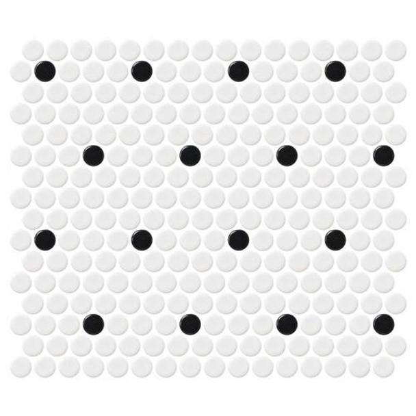 "Supplier: Daltile, Series: Fanfare - Retro Rounds, Name: RR04 Polka Dot Penny Round - Matte, Size: 1"""