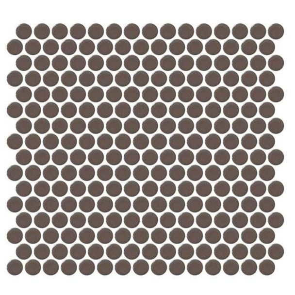 """Supplier: Daltile, Series: Fanfare - Retro Rounds, Name: RR06 Saddle Brown Penny Round - Gloss, Size: 1"""""""