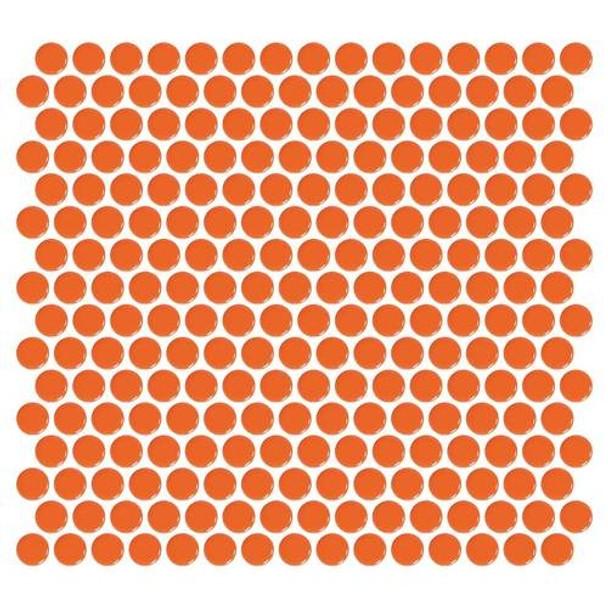 "Supplier: Daltile, Series: Fanfare - Retro Rounds, Name: RR08 Orange Soda Penny Round - Gloss, Size: 1"""