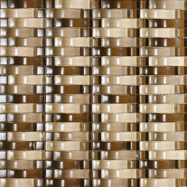 Bristol Studios - Mosaics De Verre - G2329 Sable Bows - Arched Glass Basketweave Mosaic - $7.99