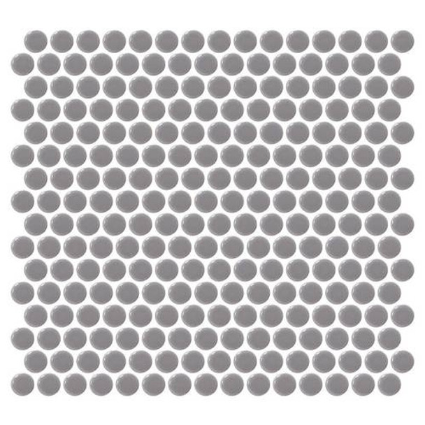 """Supplier: Daltile, Series: Fanfare - Retro Rounds, Name: RR13 Engine Gray Penny Round - Gloss, Size: 1"""""""
