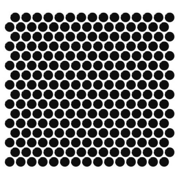 "Supplier: Daltile, Series: Fanfare - Retro Rounds, Name: RR14 Canvas Black Penny Round - Gloss, Size: 1"""