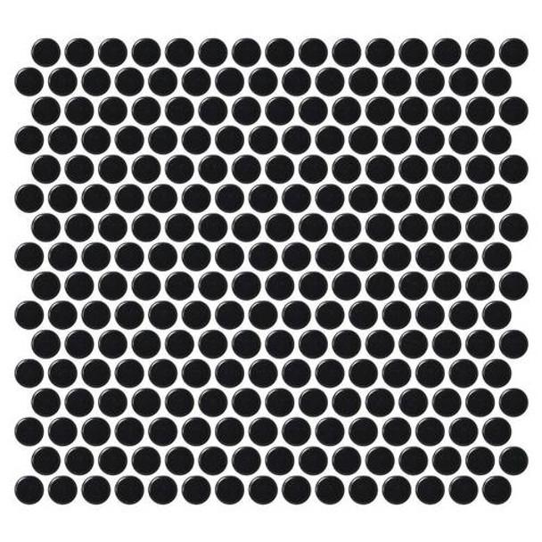 """Supplier: Daltile, Series: Fanfare - Retro Rounds, Name: RR15 Canvas Black Penny Round - Matte, Size: 1"""""""