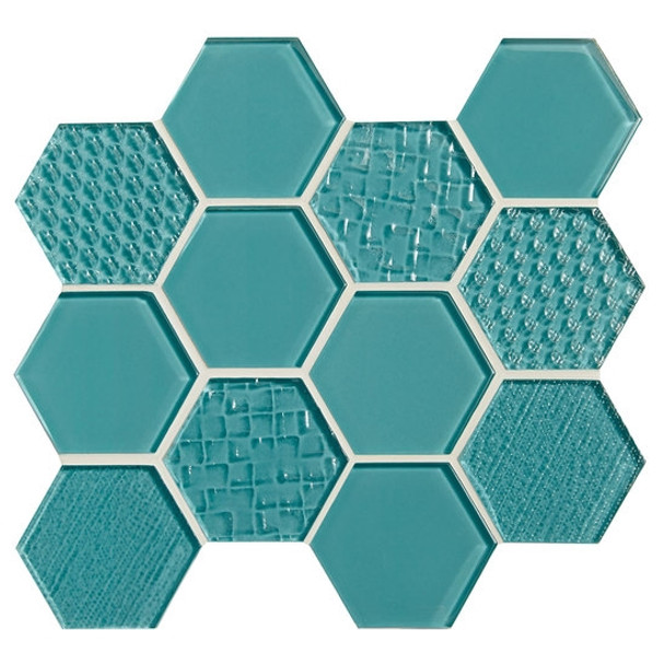 Supplier: American Olean, Series: Color Appeal Glass, Name: C108 Fountain Blue - Glossy, Type: Glass Tile Mosaic, Size: 1X1