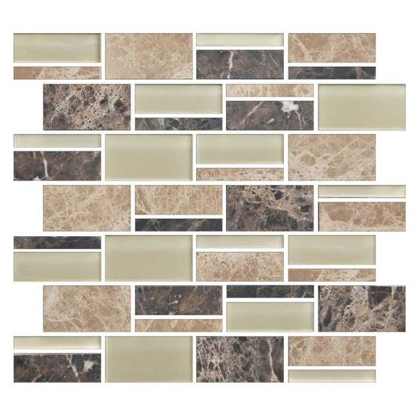 "Supplier: American Olean, Series: Color Appeal Glass, Name: C137 Pebble Beach Blend - Glossy, Type: Glass Tile Mosaic, Size: 3"" X Random"