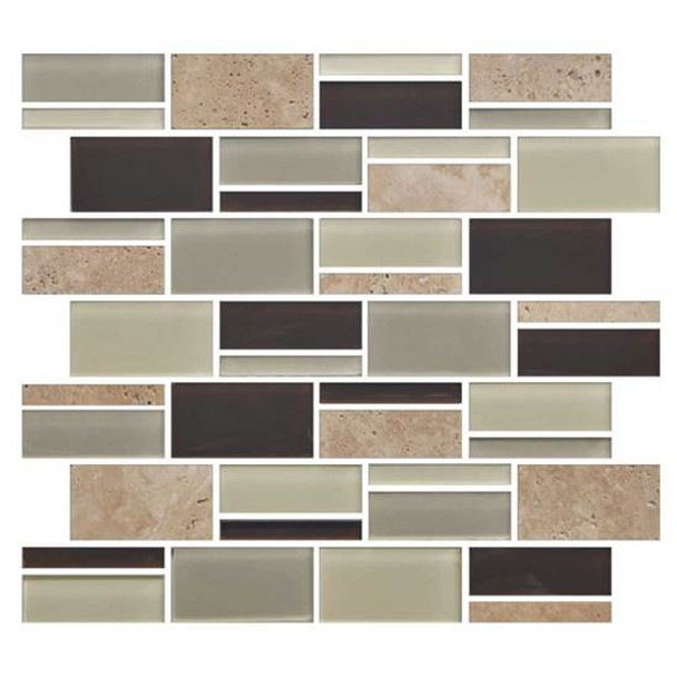 """Supplier: American Olean, Series: Color Appeal Glass, Name: C138 Canyon Trail Blend - Glossy, Type: Glass Tile Mosaic, Size: 3"""" X Random"""