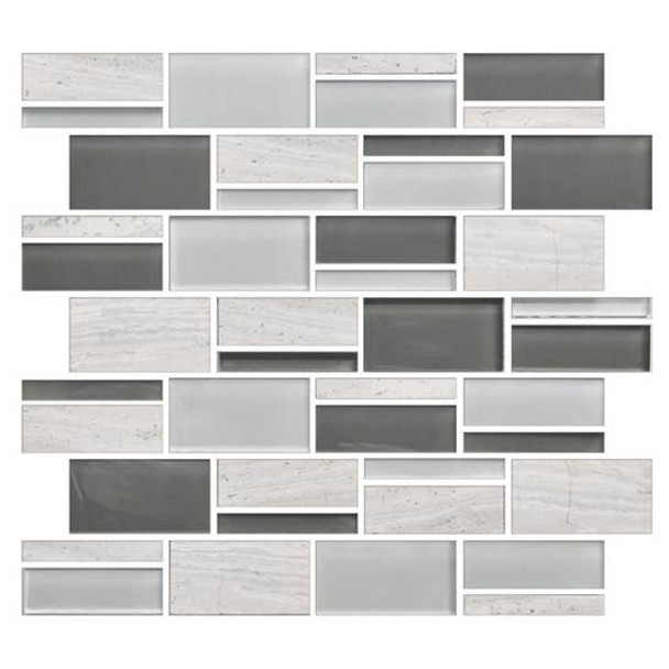 """Supplier: American Olean, Series: Color Appeal Glass, Name: C140 Mountain Morning Blend - Glossy, Type: Glass Tile Mosaic, Size: 3"""" X Random"""
