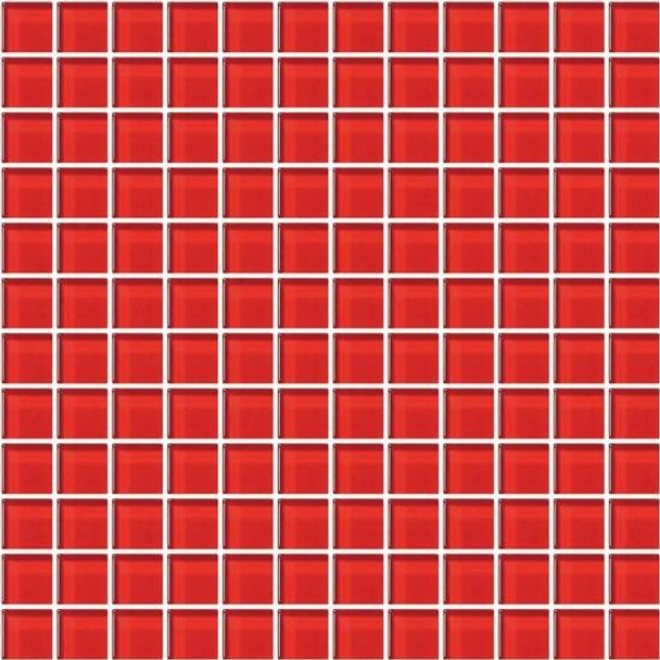 Supplier: American Olean, Series: Color Appeal Glass, Name: C117 Cherry - Glossy, Type: Glass Tile Mosaic, Size: 1X1