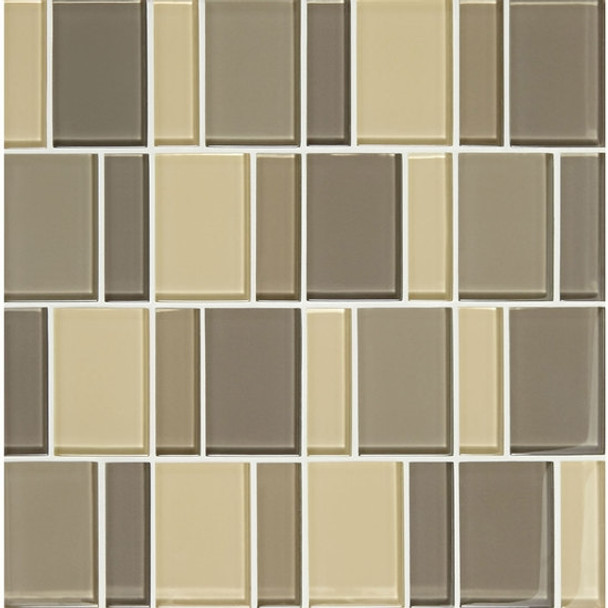"""Supplier: American Olean, Series: Color Appeal Renewal Glass Tile Mosaic, Name: C133 Sand Storm Blend - Glossy, Size: 3"""" Block"""