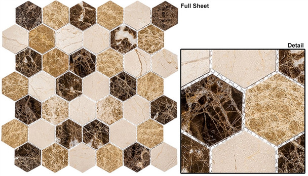 """Colonial - CLNL-273 Rock Haven - 2"""" Hexagon Marble Stone Mosaic"""