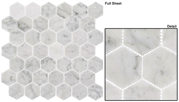 """Colonial - CLNL-275 Captains Manor - 2"""" Hexagon Marble Stone Mosaic"""