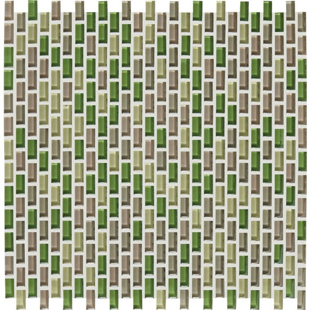 Supplier: American Olean, Series: Color Appeal Renewal Chain Link Glass Tile Mosaic, Name: C129 Willow Brook Blend, Size: Micro Brick