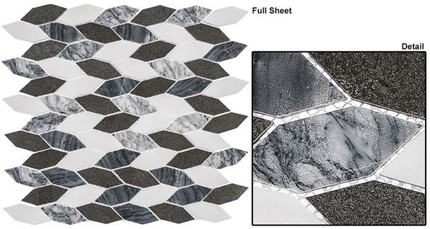 "Colonial - CLNL-280 Presidential Gray - 2"" Long Hexagon Leaf Shape Marble Stone Mosaic"