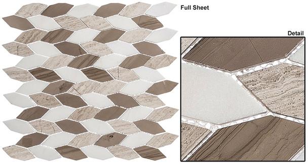 "Colonial - CLNL-281 Bay Colony - 2"" Long Hexagon Leaf Shape Marble Stone Mosaic"
