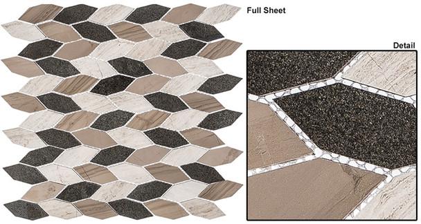 "Colonial - CLNL-282 New Chesapeake - 2"" Long Hexagon Leaf Shape Marble Stone Mosaic"