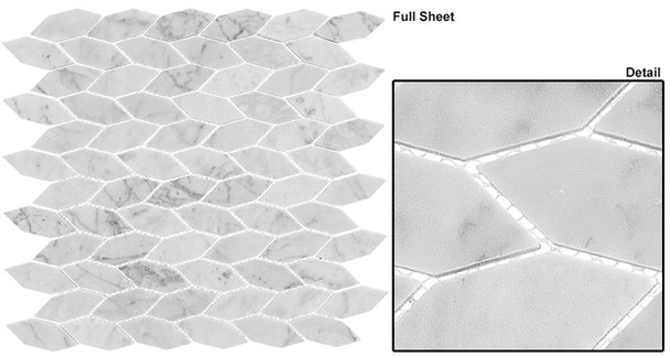 "Colonial - CLNL-285 Captians Manor - 2"" Long Hexagon Leaf Shape Marble Stone Mosaic"