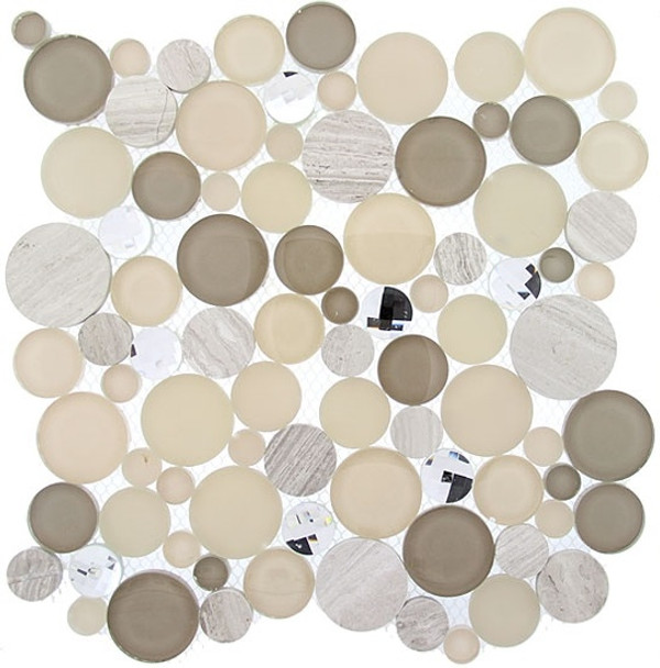 Supplier: Tile Store Online, Name: SBS1514, Color: Whipped Cream,Type: Round Glass & Stone Mosaic Tile, Size: 11.75X11.75