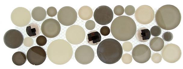 Supplier: Tile Store Online, Name: SLS-1615, Color: Platinum Foam,Type: Round Glass & Stone Mosaic Listello Border, Size: 4X11.25