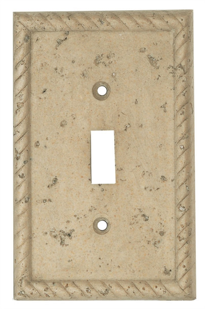 Resin Travertine Faux Stone Wall Switch Plate Outlet Cover - Single Toggle Switch - Rope - Dark Travertine Color