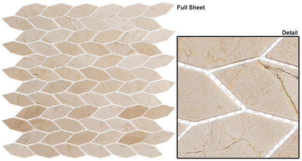 "Colonial - CLNL-289 Village Square - 2"" Long Hexagon Leaf Shape Marble Stone Mosaic"
