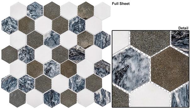"Colonial - CLNL-270 Presidential Gray - 2"" Hexagon Marble Stone Mosaic"