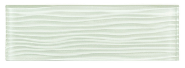 Crystile Cascades - C01-W Ice Mist - 4X12 Wavy Subway Glass Tile Plank - Glossy