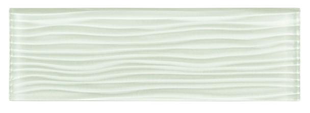 Crystile Cascades - C01-W Ice Mist - 4X12 Wavy Subway Glass Tile Plank - Glossy - SAMPLE