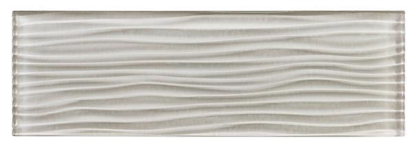 Crystile Cascades - C03-W Fog - 4X12 Wavy Subway Glass Tile Plank - Glossy - SAMPLE
