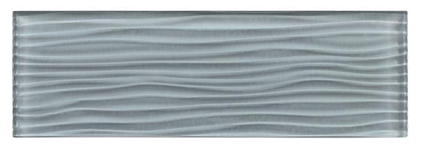 Crystile Cascades - C07-W Gray Sky - 4X12 Wavy Subway Glass Tile Plank - Glossy